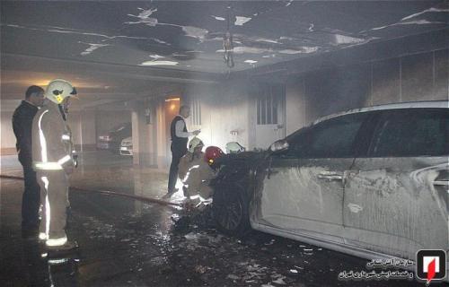 رنو تلیسمان پارکینگ مجمتع مسکونی را به آتش کشید